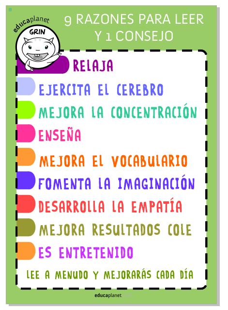 Poster Grin Educaplanet - 9 razones para leer y 1 consejo