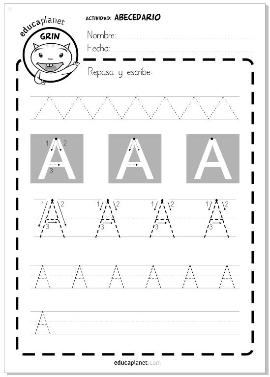 Fichas abecedario en mayúsculas para imprimir GRATIS infantil ...
