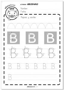 Ficha letras para imprimir - grafomotricidad - Actividad Abecedario - Letra B en mayúscula