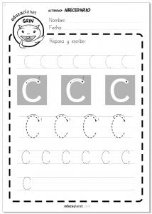 Ficha letras para imprimir - aprender a leer - Actividad Abecedario - Letra C