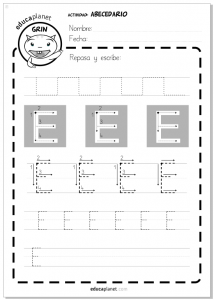 Alfabeto - Actividad lectoescritura Letra E