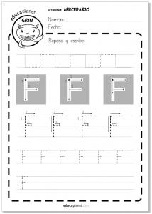 Abecedario - Actividad grafomotricidad - Letra F