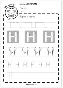 Fichas grafomotricidad 3 años las letras del abecedario LETRA H en mayúscula Actividades Abecedario - Escribir letra H
