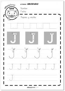 Grafomotricidad -fichas letras - Actividad lectoescritura abecedario - Letra J