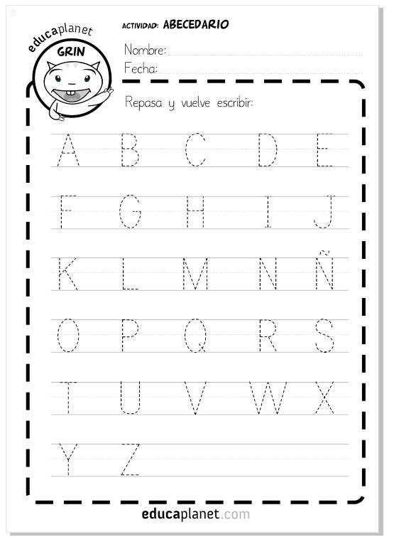 Abecedario ficha - gratis actividad en mayúsculas para aprender a leer