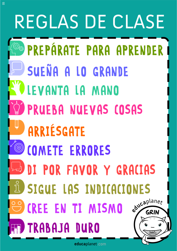 Reglas de clase un poster o cartel para el aula for 10 reglas del salon de clases en ingles