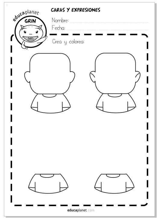 caras expresiones colorear dibujar personajes avatar EB EDUCAPLANET