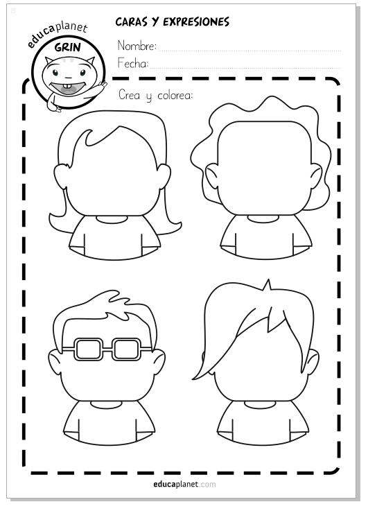 Ficha caras emociones personajes dibujar ficha aula