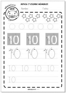 matemáticas escribir primeros números grafomotricidad 10 Educaplanet