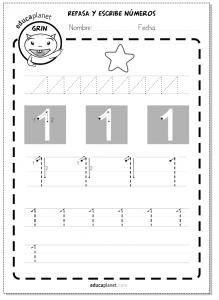 aprender números grafomotricidad 1 preescolar primaria