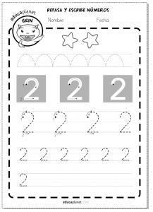 Ejercicios de escribir primeros números:2 grafomotricidad educaplanet math numbers