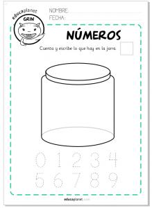Actividad ficha imprimir números 1-9 Preescolar matemáticas