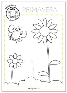 Actividad Primavera Infantil Flores colorear Lectoescritura