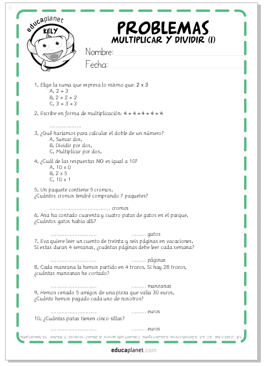 Problemas de multiplicaciones y dividisiones - ejercicios ...