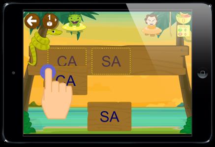 aprender a leer app serpiente juego palabras con sílabas