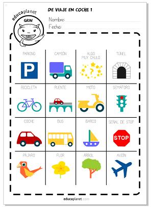 Bingo para carretera viaje en coche