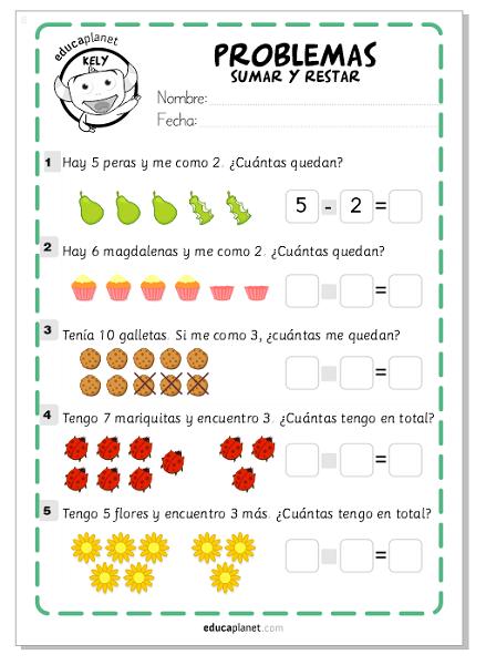 Ejercicios Sumar Restar Matematicas Fichas Gratis Infantil Y