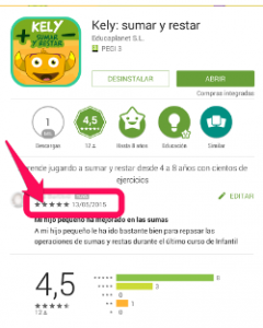 Valorar apps en Google Play