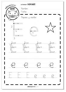 Aprender a leer y escribir vocales ficha worksheet E e