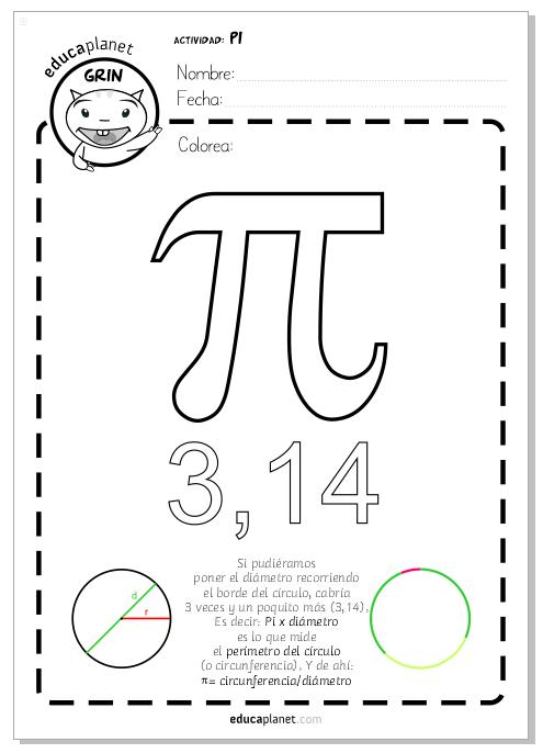 colorea número pi matematicas primaria