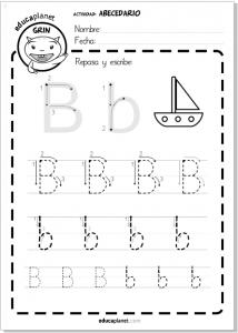 aprender a leer y escribir abecedario b