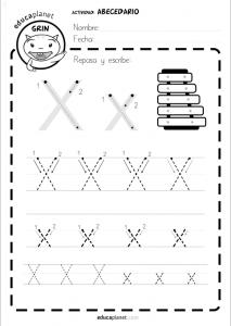 aprender a leer abecedario: escribir x