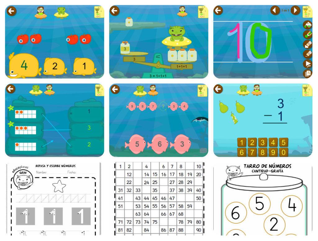 Actividades de números matemáticas preescolar 456 y fichas de papel