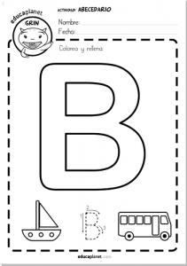 abecedario gigante ficha letra b aprender a leer