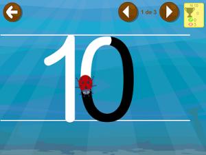 aprender números app juego escribir 10