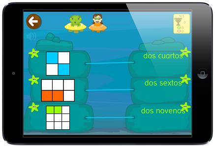ejercicios fracciones app juegos