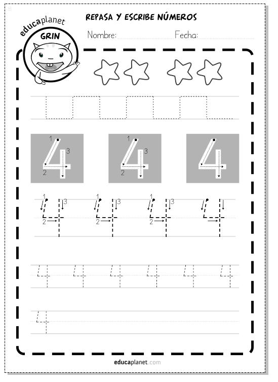 trazar números 4 preescolar grafomotricidad