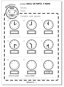reloj horas ejercicios Primaria niños