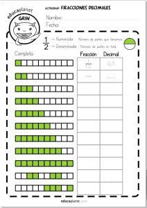 fracciones decimales ejercicios gratis Primaria