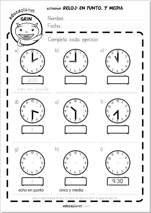 horas reloj ejercicios juego ficha