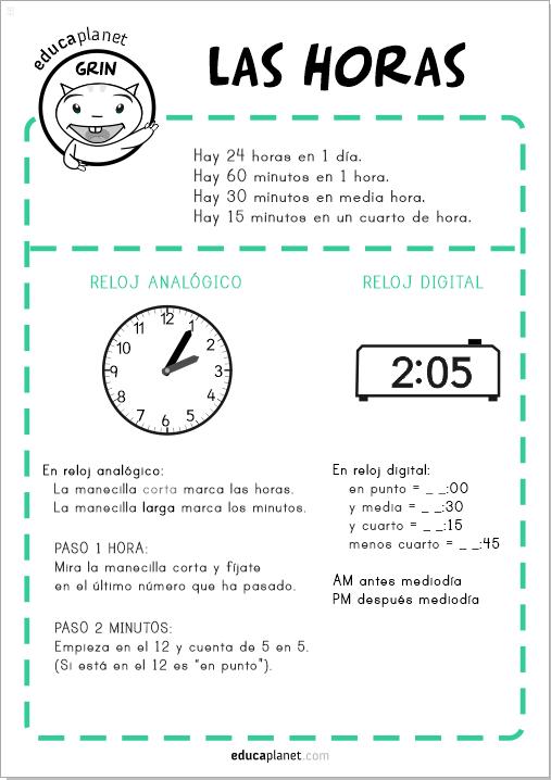 Juego aprender horas reloj descarga fichas gratis y app for Cuanto es un cuarto de hora