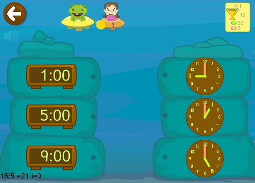 juego aprender horas matemáticas primaria