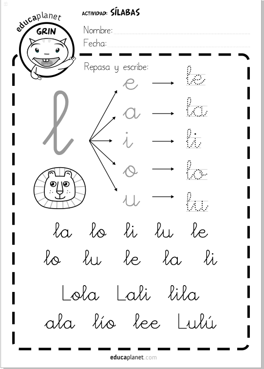 Ficha silabas directas La le li lo lu