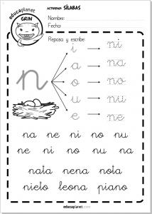 Ficha repaso silabas directas N