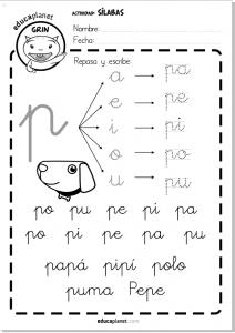 Letra cursiva silabas directas pa pe pi po pu