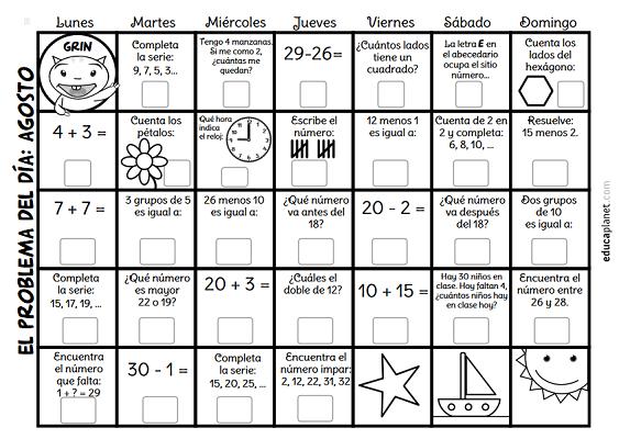 calendario con problemas diarios de matemáticas primaria