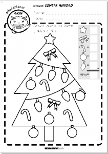 Ficha Navidad contar y colorear educaplanet