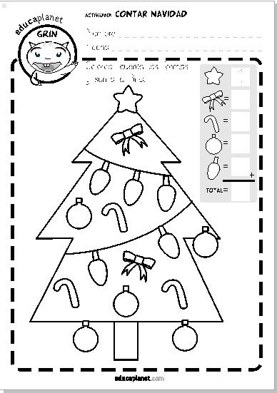 Ficha Navidad contar números matemáticas infantil GRATIS EDUCAPLANET ...