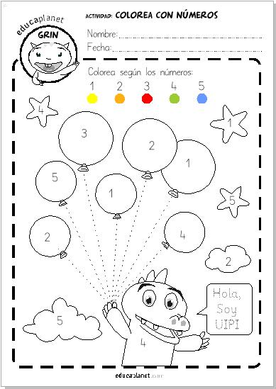 Ficha Infantil Gratis Colorea Con Numeros O Vocales Educaplanet Apps