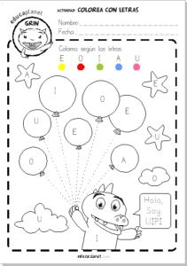 colorea numeros o vocales globos educaplanet