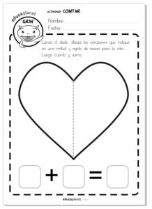 san valentin matematicas infantil actividad contar