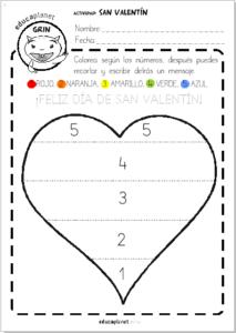 Ficha San Valentin preescolar colorea números