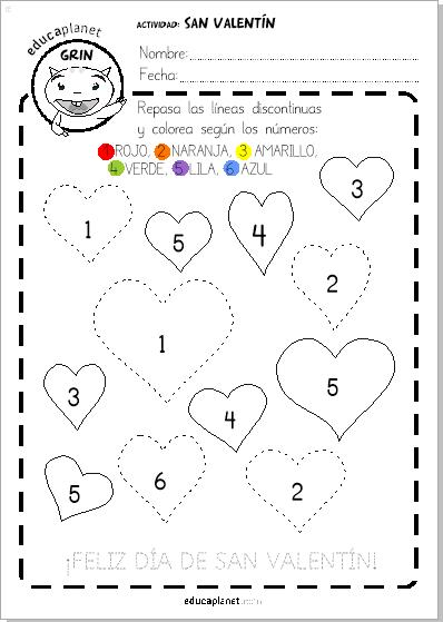 Ficha San Valentin Preescolar Colorea Con Números Infantil Gratis