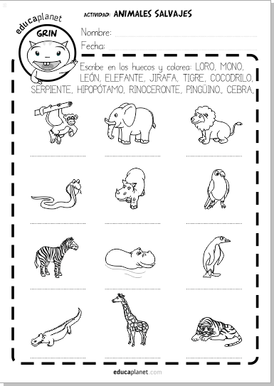 ficha animales salvajes zoo english vocabulario ficha gratis
