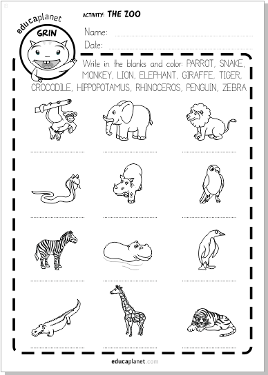 ficha animales salvajes The Zoo voacabulary FREE Worksheet
