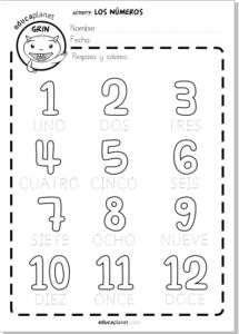 Ficha aprender números colorear y escribir